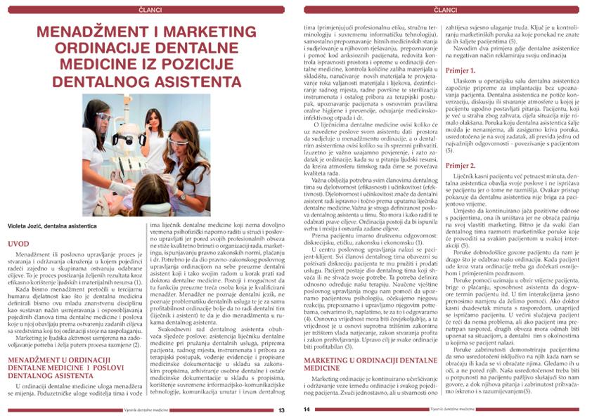 Menadzment i marketing dentalne medicine iz pozicije dentalnog asistenta